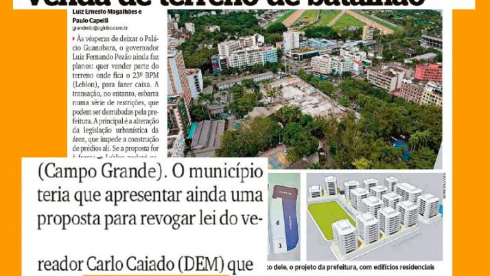 A pedido do Estado, Prefeitura pretende mudar lei de Caiado e vender terreno no Leblon