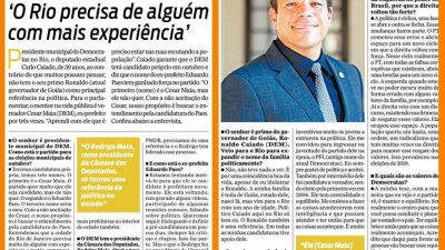 Deputado Caiado em destaque no Jornal O Dia